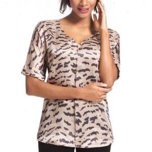 Cabin gold / black animal print 100% silk blouse